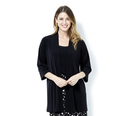 Kim & Co Brazil Jersey 3/4 Relaxed Sleeve Cardigan