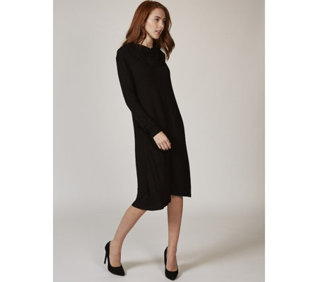 Long Sleeve Cowl Neck Knit Dress with Side Seam Pockets by Nina Leonard
