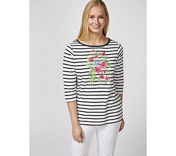 Quacker Factory Tropical Floral Striped Boat Neck T Shirt - 171162