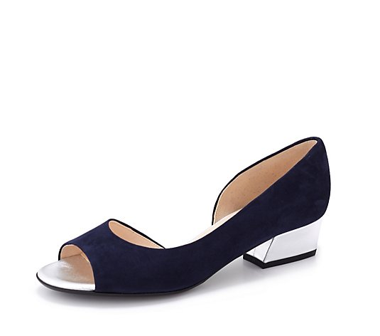 Peter Kaiser Pura Low Block Peep Toe Court Shoe