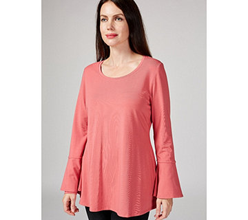 Isaac Mizrahi Live Scoop Neck Trapeze Top with Fluted Sleeves - 174162