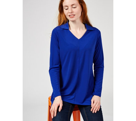 Dip Back Hem Tunic with Collar by Michele Hope