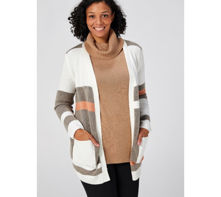 Absolutely Famous Open Front Colour Block Cardigan