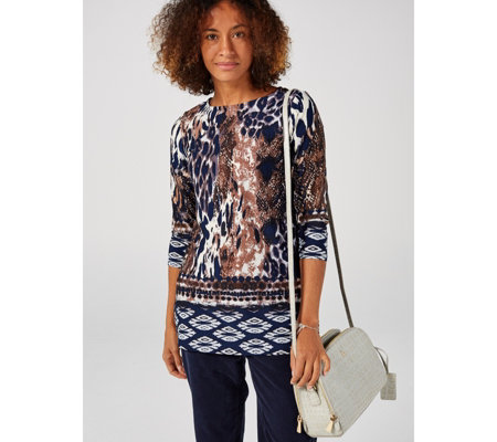 Attitudes by Renee Como Jersey 3/4 Sleeve Printed Tunic