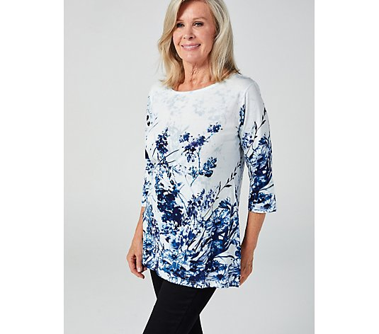 Artscapes 3/4 Sleeve Floral Border Tunic with Side Slit