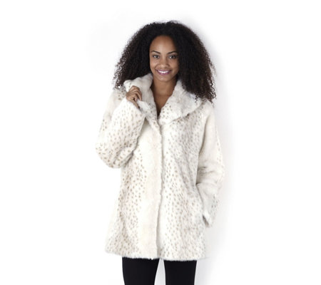 Outlet Dennis Basso Shawl Collar Faux Fur Coat