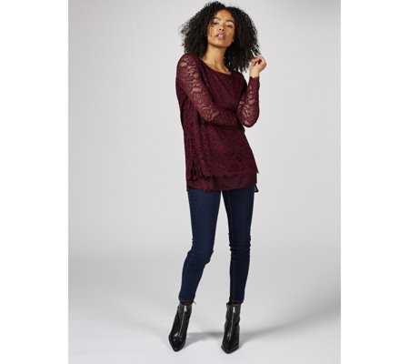 Stretch Lace Tunic with Chiffon Hem & Tie Sleeves by Nina Leonard