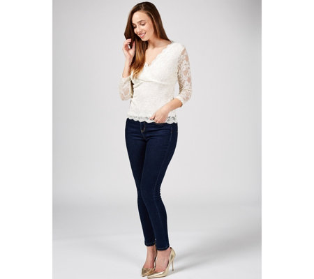 Ronni Nicole Mock Wrap Lace Top