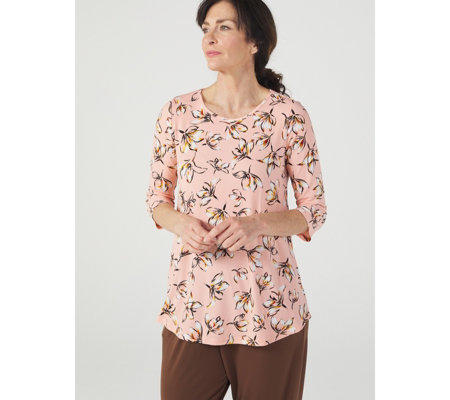 Kim & Co Floating Petals Brazil Jersey 3/4 Sleeve Tunic