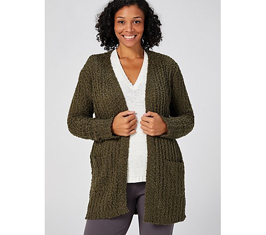 Absolutely Famous Popcorn Yarn Open Front Cardigan