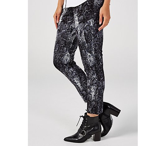 Women With Control Printed Jersey Ponte Slim Leg Trouser