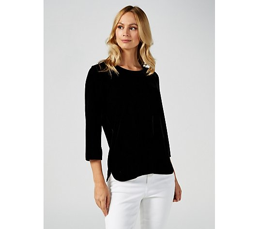 Ruth Langsford Velvet Top with 3/4 Sleeve & Zip Back