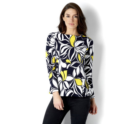 Printed Textured Knit Back Zip Long Sleeve Top by Susan Graver