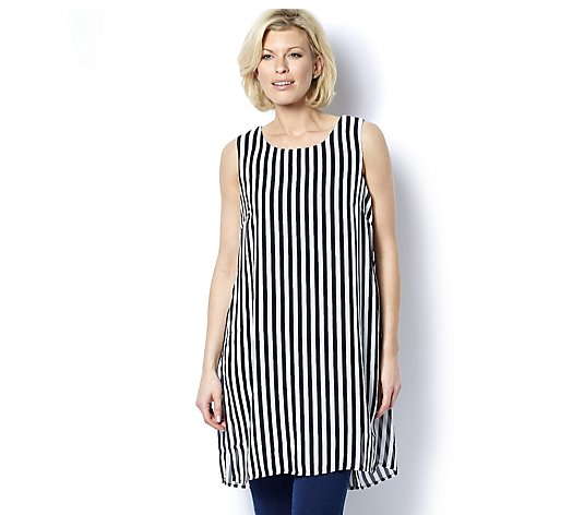 Striped Chiffon Overlay Tunic by Nina Leonard