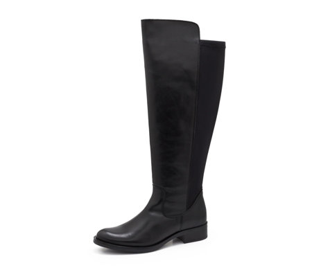 df73d0f2d10 Clarks Melissa Leather Knee High Boot with Elasticated Back Panel - QVC UK