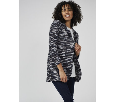 Mr Max Boucle Knit Curved Hem Cardigan