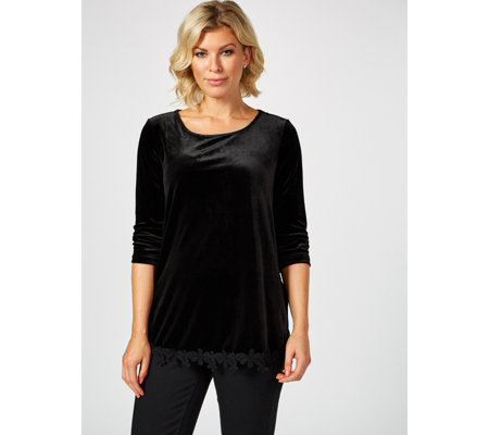 3/4 Sleeve Velvet Tunic with Crochet Hem by Nina Leonard