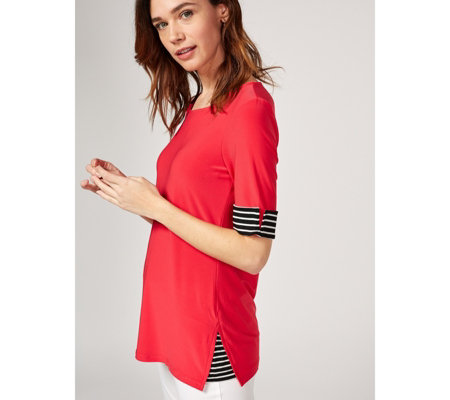 Elbow Tunic with Contrast Stripe Side and Cuffs by Nina Leonard