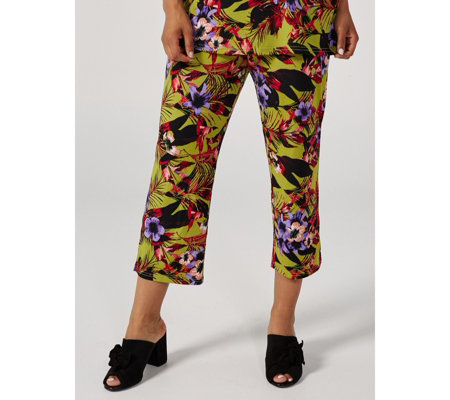 Floral Print Jersey Crop Trousers by Michele Hope