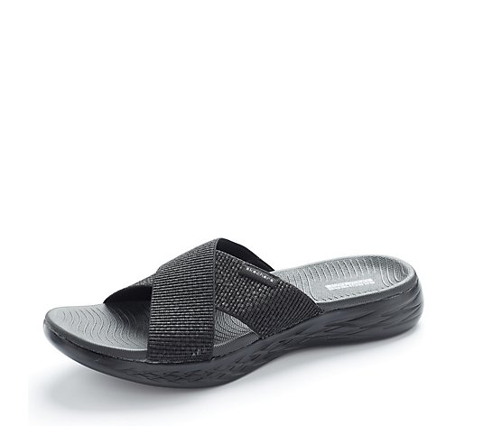 Skechers On The Go 600 Stretch Fit Cross Band Slide Sandal