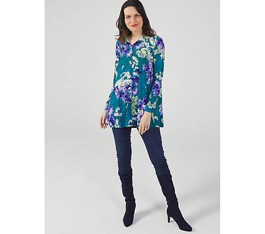 Long Sleeve Print Swing Hem Shirt with Pocket by Michele Hope