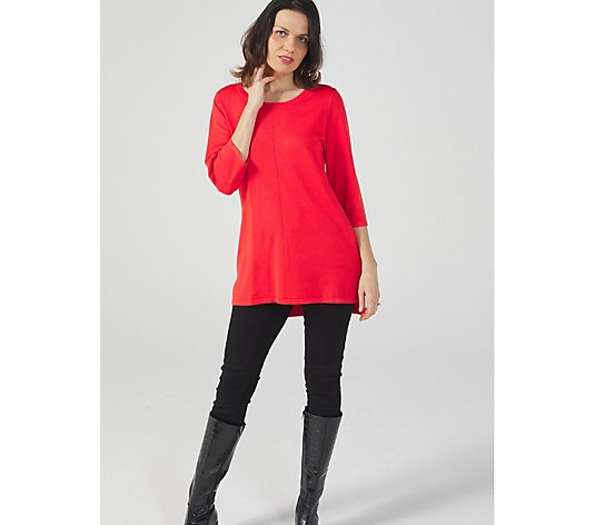 3/4 Sleeve Scoop Neck Knitted Tunic Front Seam by Michele Hope