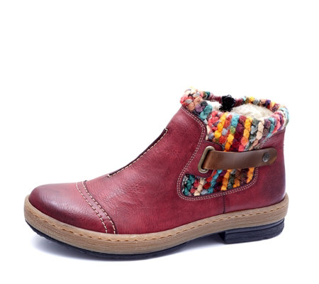 Rieker Wool Lined Ankle Boot with Strap Detail