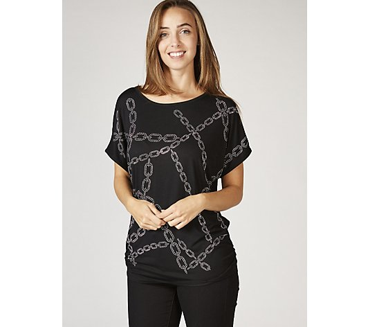 Frank Usher Crystal Chain Link Detail Stretch T-Shirt