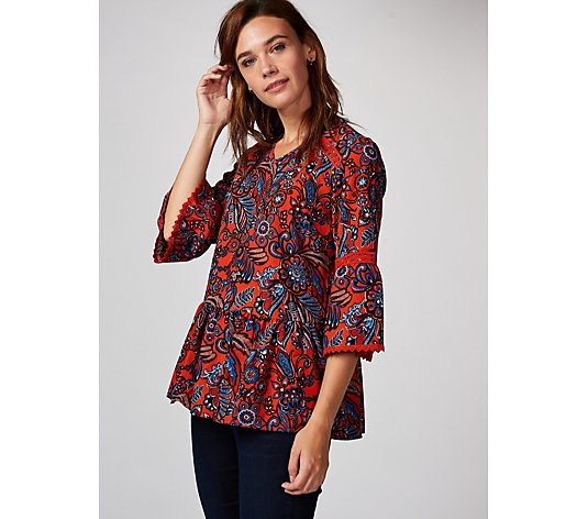 Denim & Co. Printed Paisley Bell Sleeve Blouse with Trim