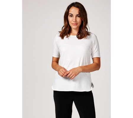Ruth Langsford Stretch Crepe Short Sleeve Top with Back Zip