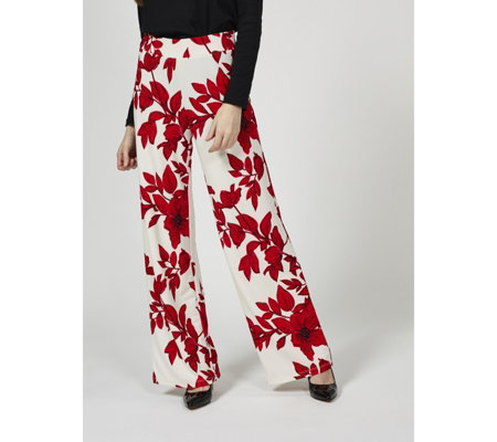 Isaac Mizrahi Live Printed Pebble Knit Wide Leg Petite Trousers