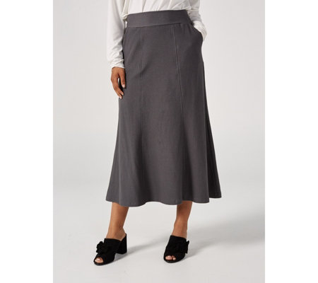 Kim & Co Deluxe Denim Knit Hi-Low Skirt with Pockets