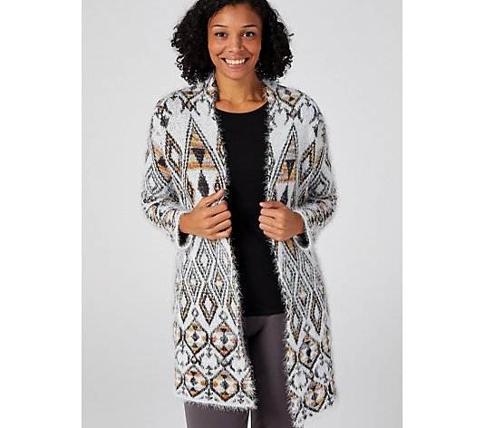 Absolutely Famous Jacquard Open Front Cardigan