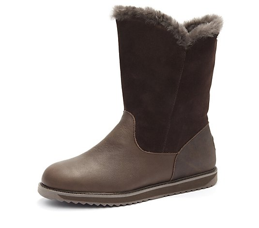 Outlet Emu All Weather Latrobe Leather & Suede Zip Mid Length Boot