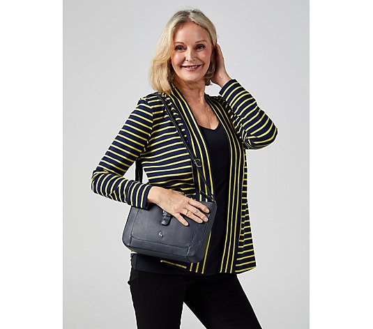 Denim & Co. Striped Jersey Open Front Cardigan