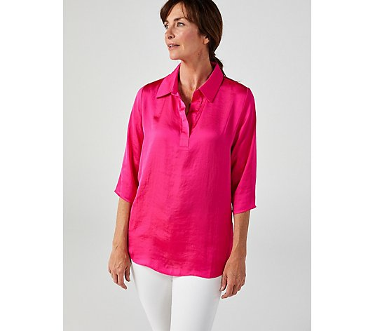 Attitudes by Renee Washed Poly Silk Collared Shirt