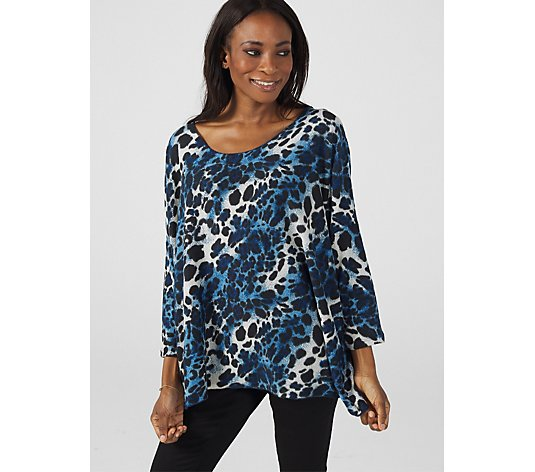 Frank Usher Printed Loop Back V Neck Top