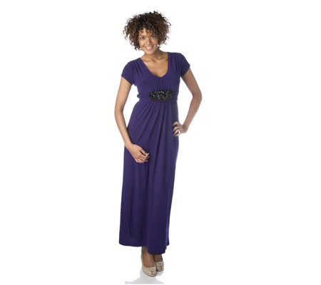"""As Is"" Tiana B Maxi Dress with Embellished Belt"