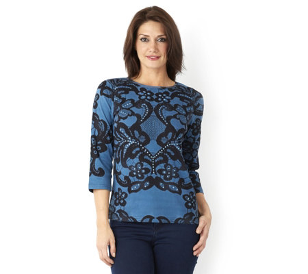 Artscapes Paris Lace 3/4 Sleeve Round Neck Top