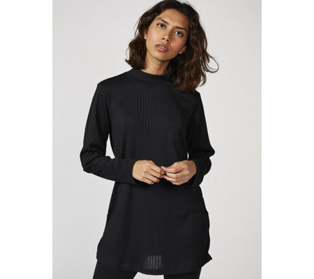 Denim & Co. Ribbed Knit Mock Neck Long Sleeve Tunic