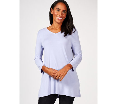 Hi Lo Curved Hem Cowl Back Tunic by Nina Leonard