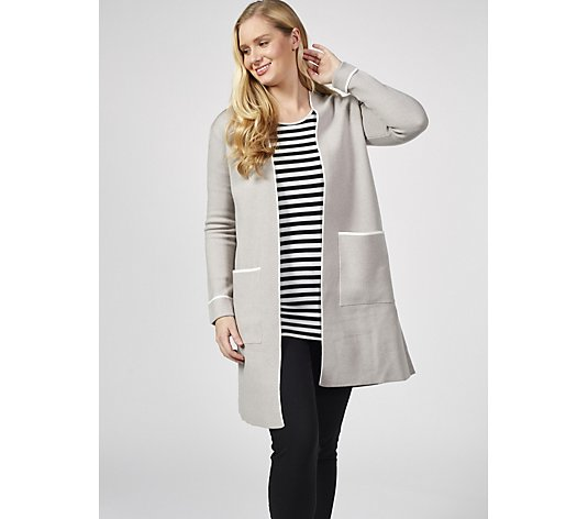 Centigrade Edge To Edge Knitted Patch Pockets Cardigan