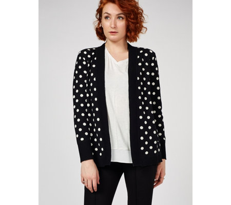 Isaac Mizrahi Live Long Sleeve Jacquared Dot Jacket
