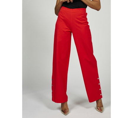 Isaac Mizrahi Live 24/7 Stretch Wide Leg Petite Trousers with Snap Detail