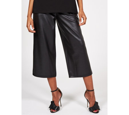 Kim & Co Croco Pleather Cropped Trousers with Pockets