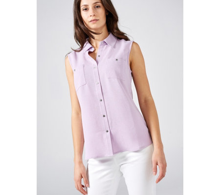 Denim & Co. Woven Sleeveless Shirt with Curved Hem