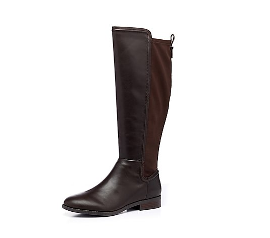 Marc Fisher Shiane Tall Leather Boot w/ Stretch Panel