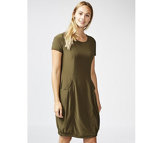 Short Sleeve Dress with Elasticated Hem & Front Pockets by Nina Leonard