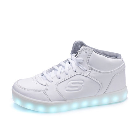 Skechers Kid's Energy Lights Mid Top Lace Up Trainer with Hidden Lights