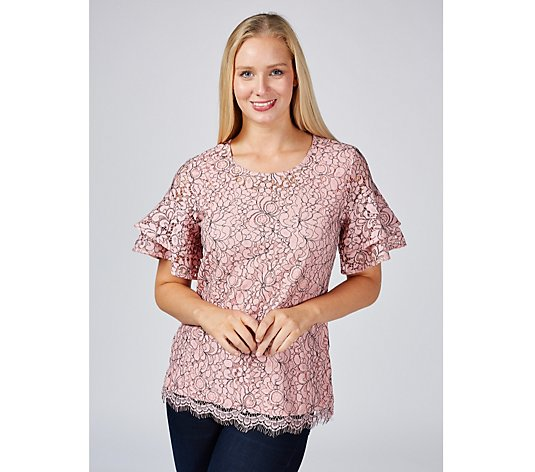 Isaac Mizrahi Live Double Layer Lace Top with Scalloped Hem